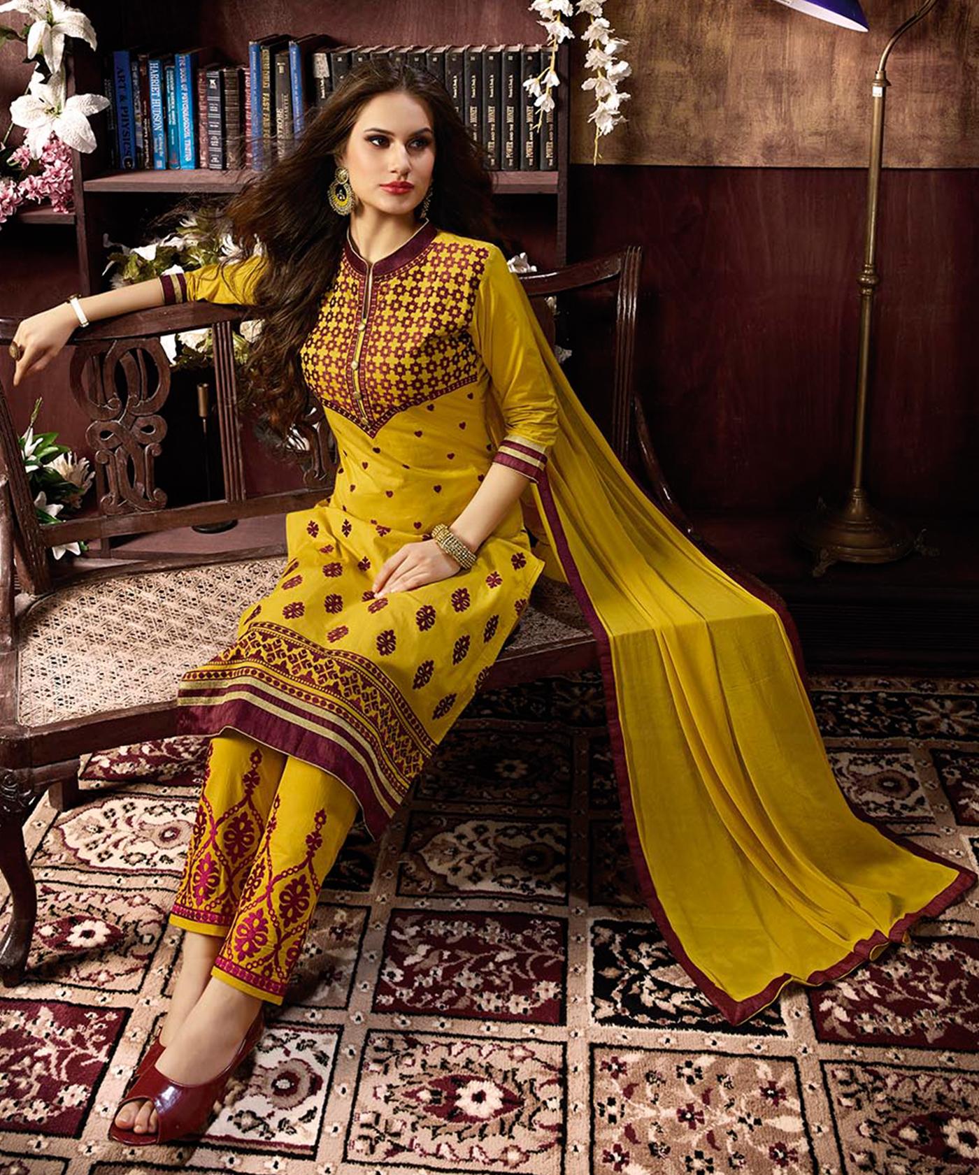 c5be243f22d Haldi Yellow Cotton Straight Semi Stitched Salwar Kameez - Online Shopping  India ...