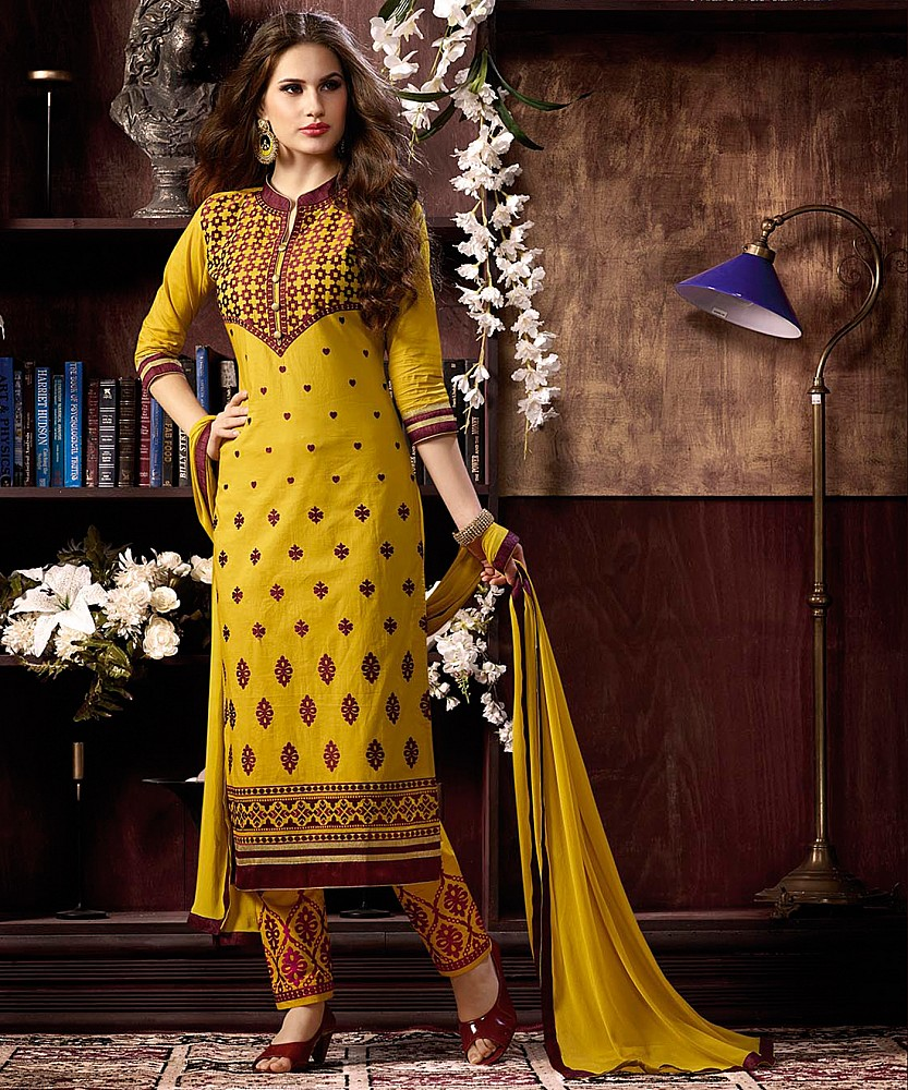 60904b1f5ee Online Shopping India - Haldi Yellow Cotton Straight Semi Stitched Salwar  Kameez