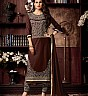Coffee Cotton Straight Semi Stitched Salwar Kameez - Online Shopping India