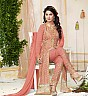 Peach Embroidered Straight Suit - Online Shopping India