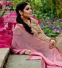 Georgette Semi Stitched Golden Pink Salwar Kameez - Online Shopping India