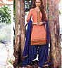 Pink Blue Patiala Semi Stitched Salwar Kameez - Online Shopping India