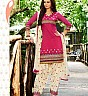 Pink Cream Patiala Semi Stitched Salwar Kameez - Online Shopping India