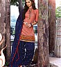 Blue Peach Patiala Semi Stitched Salwar Kameez - Online Shopping India