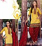 Yellow Maroon Patiala Semi Stitched Salwar Kameez - Online Shopping India