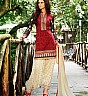 Maroon Cream Patiala Semi Stitched Salwar Kameez - Online Shopping India
