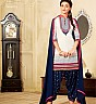 White Blue Semi Stitched Salwar Kameez With Dupatta - Online Shopping India