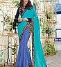 Mahotsav Designer Chiffon Blue Saree - Online Shopping India