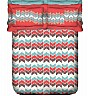 OSI ZZ Hue Dart II White & Red Double Bed Sheet with 2 Pillow Covers - Online Shopping India
