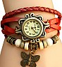 Vintage Red Bracelet Butterfly Analog Watch For Women/Ladies - Online Shopping India