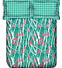 OSI ED Houndstooth A Green & Pink Double Bed Sheet with 2 Pillow Covers - Online Shopping India